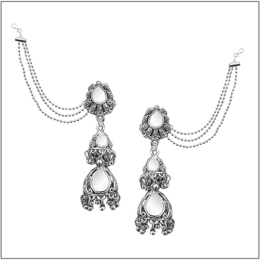 Kriaa Silver Plated Pearl Kan Chain Earrings