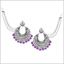 Kriaa Purple Beads Silver Plated Pearl Kan Chain Earrings