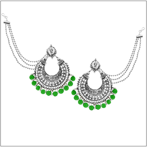 Kriaa Green Beads Silver Plated Pearl Kan Chain Earrings