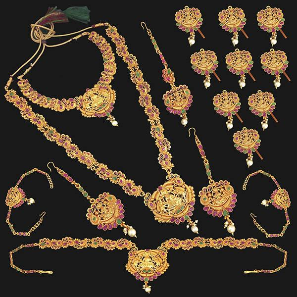 Shubham Pota Stone Copper Bridal Jewellery Set - 1003709