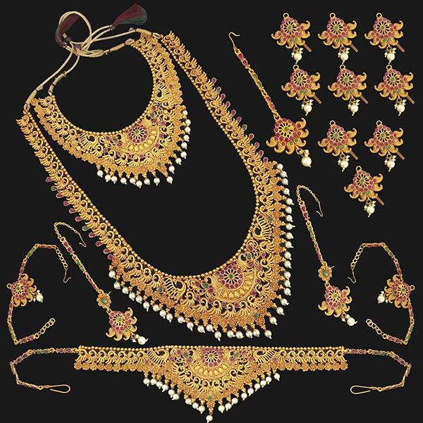 Shubham Pota Stone Copper Bridal Jewellery Set - 1003720