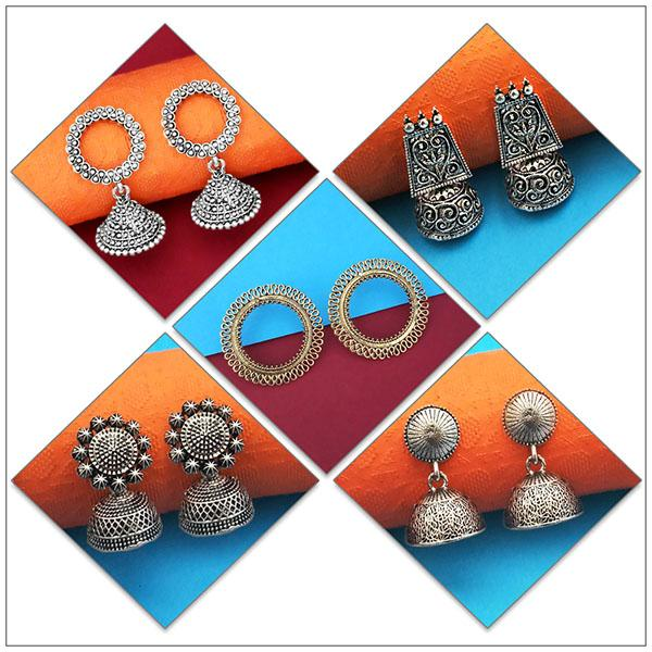 14Fashions Set of 5 Earrings Combo - 1004076
