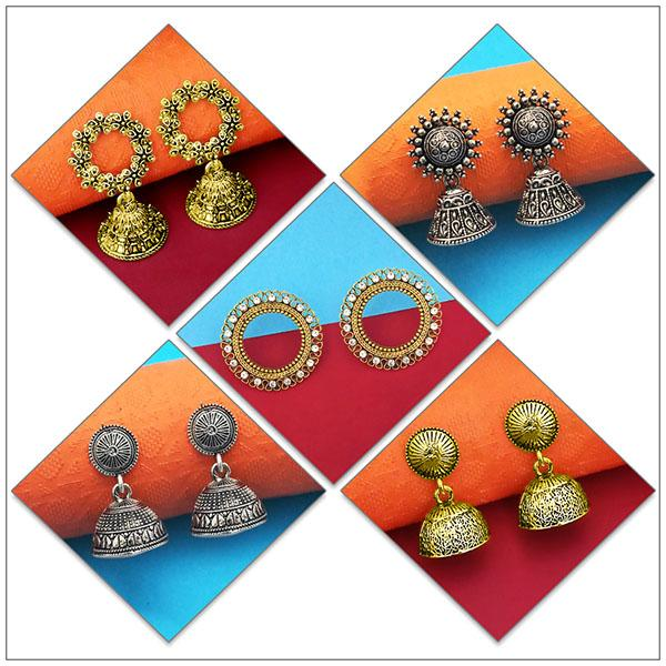 14Fashions Set of 5 Earrings Combo - 1004079