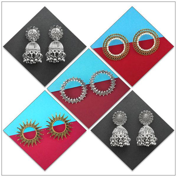 14Fashions Set of 5 Earrings Combo - 1004086