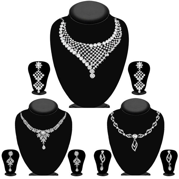 14fashions Pack Of 3 Silver Plated Necklace Combo -1004284