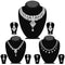 14fashions Pack Of 3 Silver Plated Necklace Combo -1004286