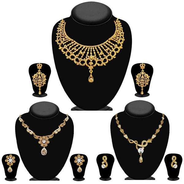 14fashions Pack Of 3 Gold Plated Necklace Combo -1004287