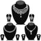 14fashions Pack Of 3 Silver Plated Necklace Combo -1004288