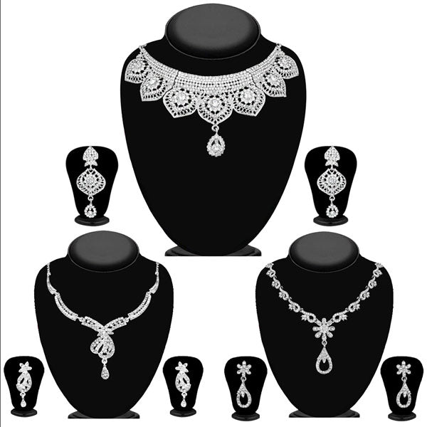 14fashions Pack Of 3 Silver Plated Necklace Combo -1004292