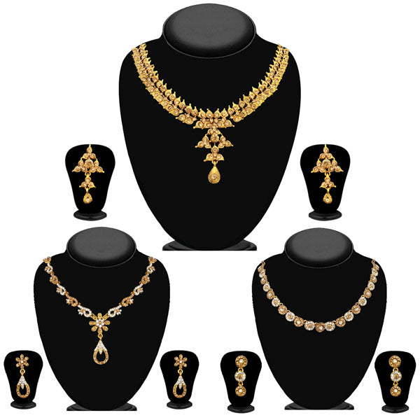 14fashions Pack Of 3 Gold Plated Necklace Combo -1004293