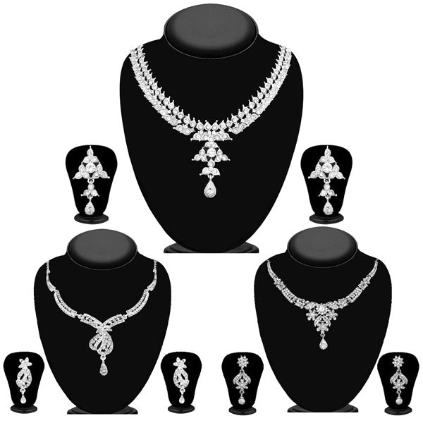 14fashions Pack Of 3 Silver Plated Necklace Combo -1004294