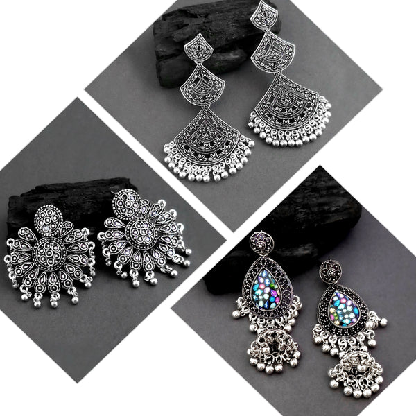 Native Haat Pack Of 3 Oxidised Earrings Combo