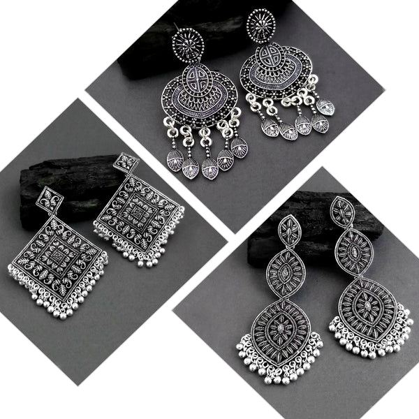 14Fashions Pack Of 3 Oxidised Earrings Combo