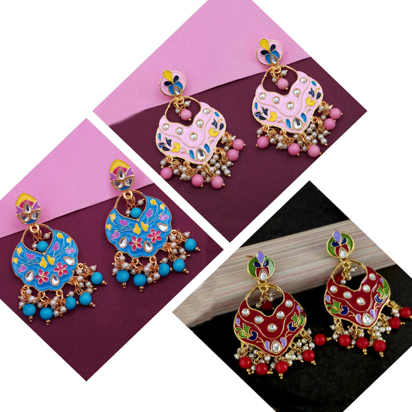 14Fashions Set of 3 Meenakari Earrings Combo