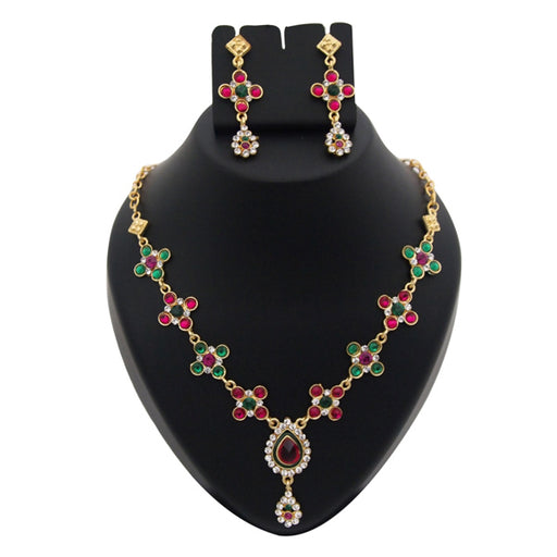 Kriaa Red  Austrian Stone Meenakari Necklace Set