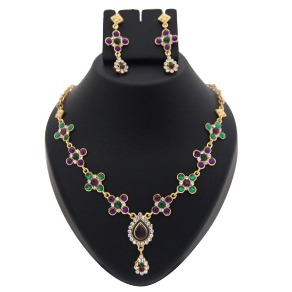Kriaa Purple Austrian Stone Meenakari Gold Plated Necklace Set