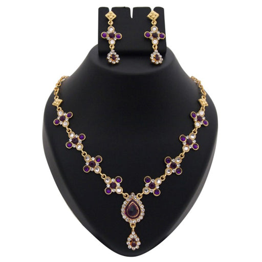 Kriaa Purple Kundan Austrian Stone  Necklace Set