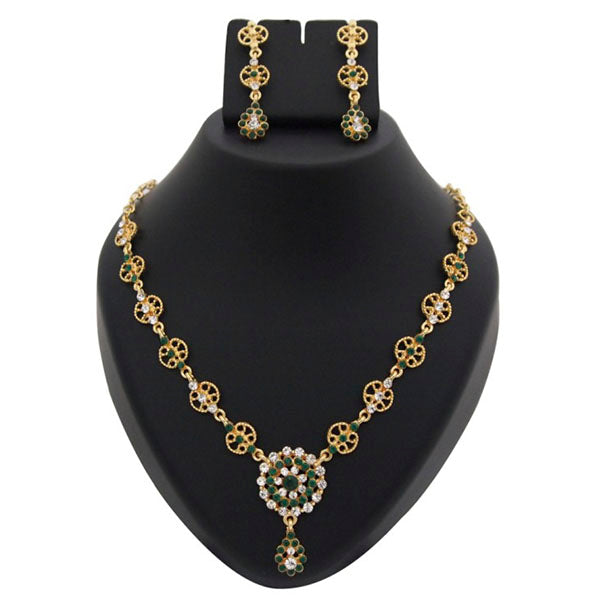 Kriaa Gold Plated Green Austrian Stone Necklace Set