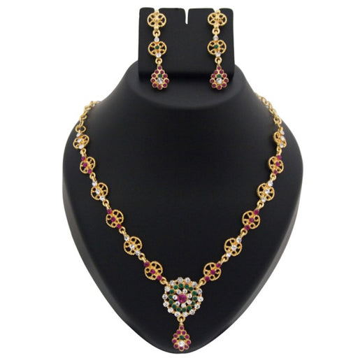 Kriaa Pink And Green Austrian Stone Necklace Set