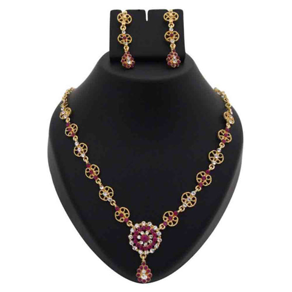 Kriaa Pink Austrian Stone Floral Design Necklace Set