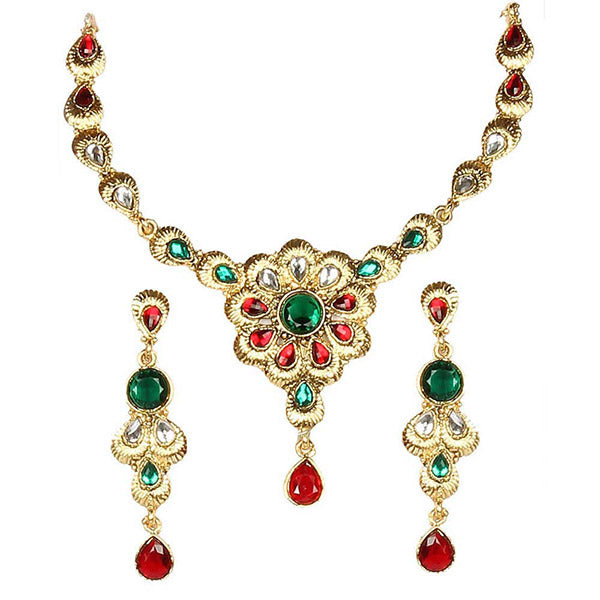 Kriaa Red And Green Kundan Gold Plated  Necklace Set