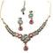 Kriaa Pink Austrian Stone Gold Plated Necklace Set