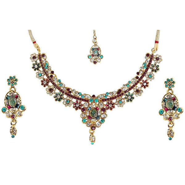 Kriaa Multi Austrian Stone Gold Plated Necklace Set