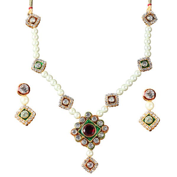 14Fashions Green Austrian Stone Gold Plated Necklace Set