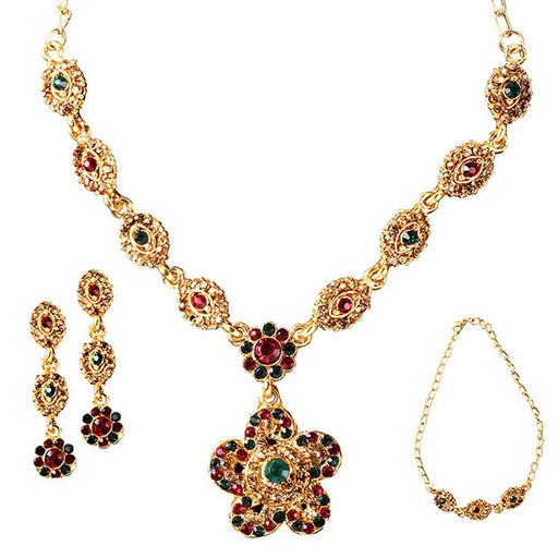 Kriaa Austrian Stone Gold Plated Necklace Set With Bracelet