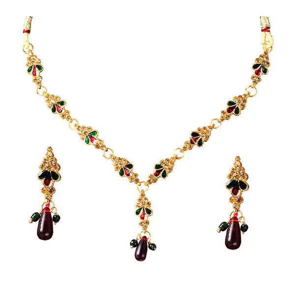 The99jewel Red Meenakari Stone Gold Plated Necklace Set