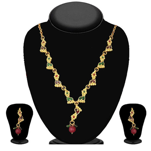 The99Jewel Maroon & Green Austrian Stone Necklace Set - 1100813  - NB