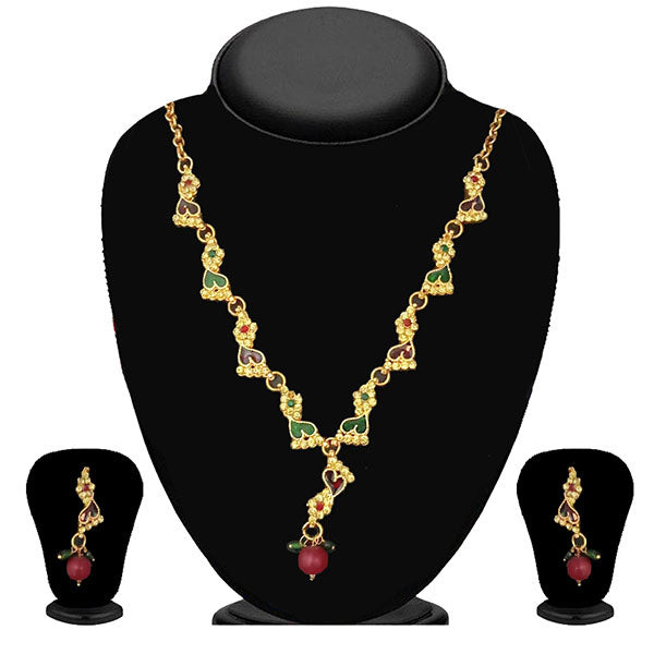The99Jewel Maroon & Green Austrian Stone Necklace Set - 1100813 - ES