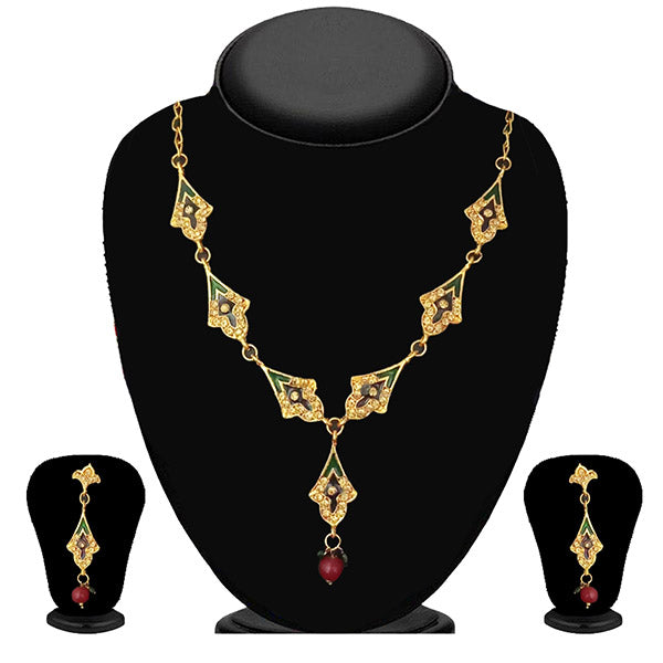 The99Jewel Meenakari Stone Gold Plated Necklace Set - 1100819 - NB