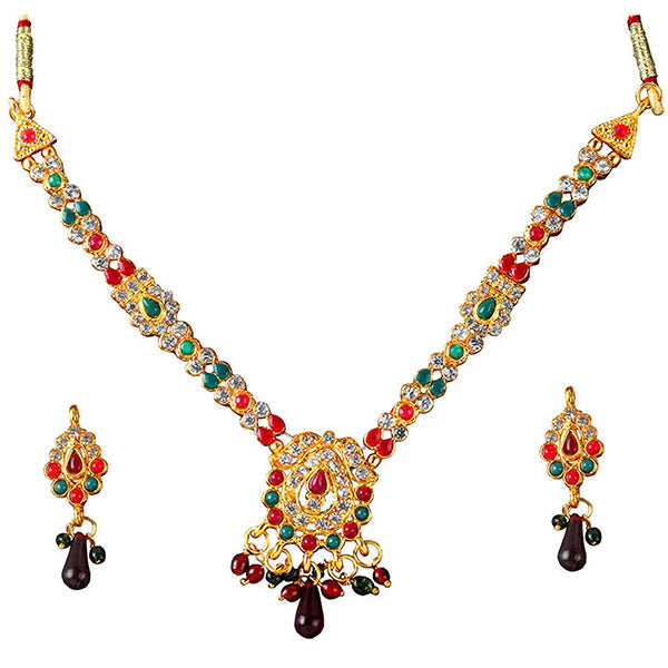 Kriaa Gold Plated Maroon Green Pota Stone Necklace Set