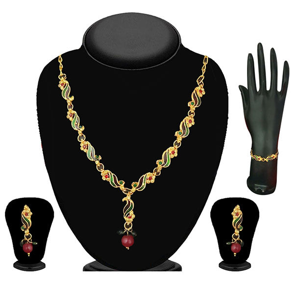 The99Jewel Green Stone Meenakari Necklace Set with Bracelet
