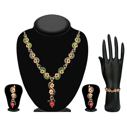 The99Jewel Meenakari Stone Floral Design Necklace Set With Bracelet- ES