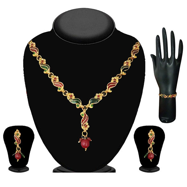 Soha Fashion Austrian Stone Gold Plated Necklace Set With Bracelet - NB