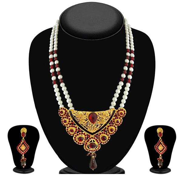 Soha fashion Maroon Austrian Stone Pearl Drop Necklace Set