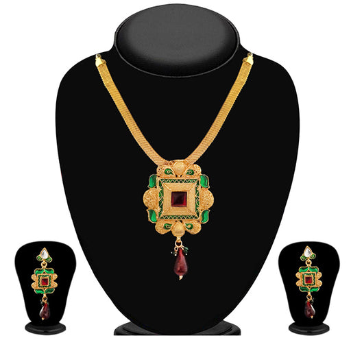 Soha Fashion Green Meenakari Gold Plated Necklace Set