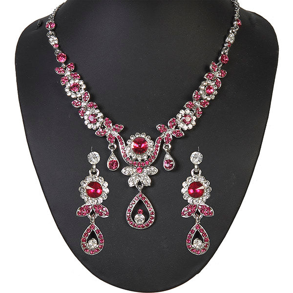 Kriaa Silver Plated Pink Austrian Stone Necklace Set - 1100921 -ES