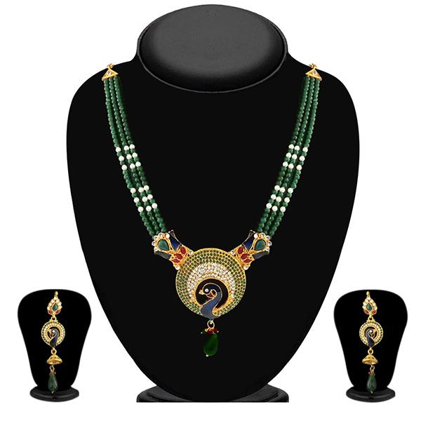 Soha Fashion Meenakari Austrian Stone Peacock Design Necklace Set