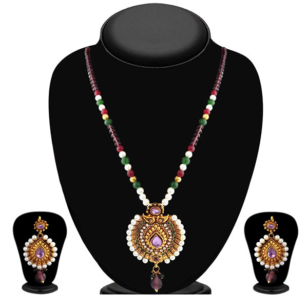 Soha Fashion Pearl Austrian Stone Gold Plated Necklace Set