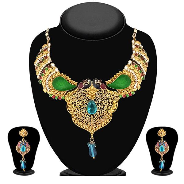 Soha Fashion Maroon And Green Austrian Stone Necklace Set