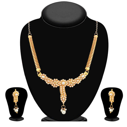 Soha Fashion Pearl Gold Plated Necklace Set - 1101002