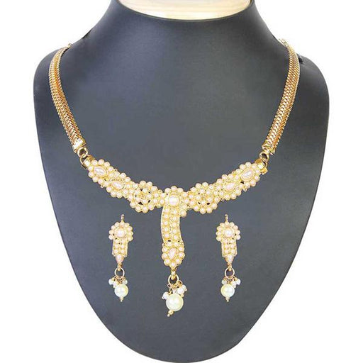 Soha Fashion Pearl Gold Plated Necklace Set - 1101002 -CL