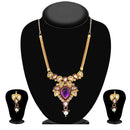 The99Jewel Purple Stone And kundan Necklace Set - 1101011