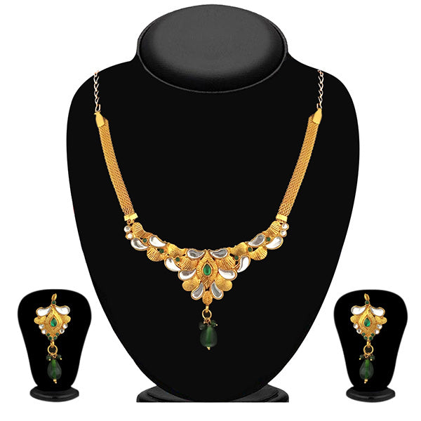 The99Jewel Green Stone And Kundan Necklace Set - 1101017