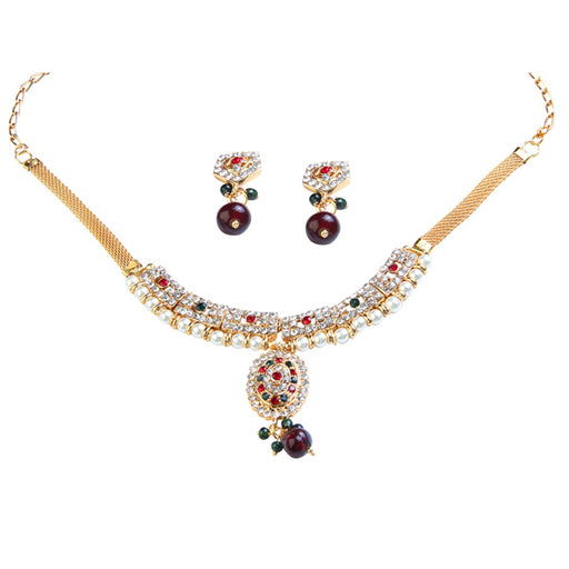 Kriaa Gold Plated Austrian Stone And Pearl Necklace Set