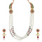 Soha Fashion Green Pota Stone 3 Line Pearl Necklace Set