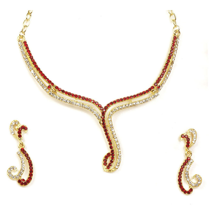The99Jewel Maroon Austrian Stone Gold Plated Necklace Set